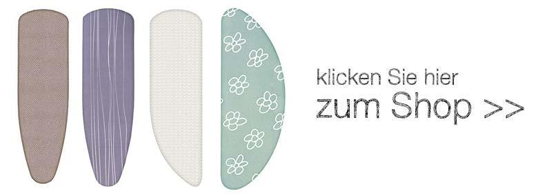 Online-Shop mit Bügelbrettbezügen in verschiedenen Größen von den Marken Widex und www.buegeltischueberzug.com